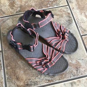 Teva Gray & Coral Sandals
